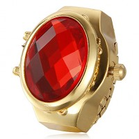 Women & #039;S Crystal Pattern Dial Gold Alloy Quartz Analog Ring Watch (Assorted Colors)