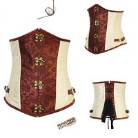 Gothic Style Brown Grommets Floral Print Satin Corset For Women