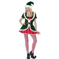 5 Pieces Cute Girl Green Velvet Christmas Costume