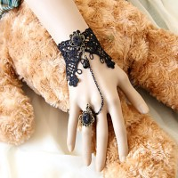 Dark Queen Handmade Black Lace Gothic Lolita Bracelet With Deulxe Ring