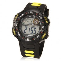 Men & #039;S Multi-Functional Lcd Digital Dial Rubber Band Wrist Watch