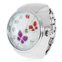 Women & #039;S Butterflies Pattern Silver Alloy Quartz Analog Ring Watch