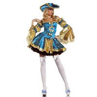 Marie Antoinette Kost眉m Deluxe Blue Polyester Women & #039;S Carnival Party Costume
