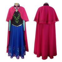 Frozen Arendelle Princess Anna Cosplay Costume With Cape