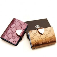 Women Cowhide Casual Card & Id Holder- Pink/Purple/Blue/Green/Red/Silver/Black
