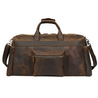 Men Cowhide Casual Travel Bag- Brown