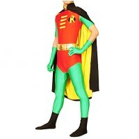 Batman And Robin Lycra Zentai With Cloak Men & #039;S Cosplay Costume