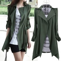 Women & #039;S Shirt Collar Solid Color Long Coat With Belt
