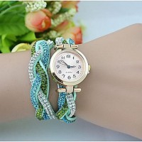 Women & #039;S Fashion Crystal Leather Winding Bracelet Watch(Assorted Colors)