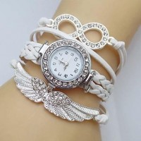 Women & #039;S Watch Crystal Wing Infinity Leather Weave Band