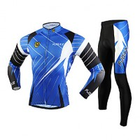 Fjqxz Men & #039;S Long Sleeve Cycling Jersey + Tights 3D Slim Cut Breathable Cycling Suit- Black + Blue