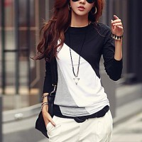 Women & #039;S Casual Round Collar Long Sleeve Spliced Color Block T-Shirt