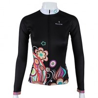 Paladinsport Women & #039;S Long Sleeve Cycling Jersey Black Night Flower Spring And Summer Style 100% Polyester