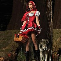 Popular Little Red Riding Hood Red Cotton Cosplay Costume