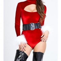 Women Foreplay Velvet Christmas Belle Cutout Bodysuit