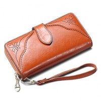 Women & #039;S Retro Carved Genuine Leather Wallets Clutch Purse Wristlets