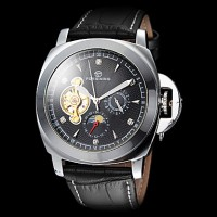 Forsining Men & #039;S Tourbillon Moon Phase Decor Silver Case Black Leather Band Automatic Self Wind Wrist Watch