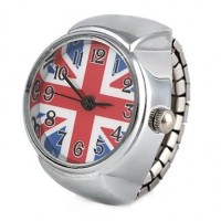 Women & #039;S Uk Flag Pattern Silver Alloy Quartz Ring Watch