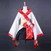 Fashion Kimono Style Long Sleeve Knee-Length White Satin Wa Lolita Outfit