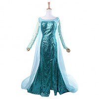 Frozen Sparkle Princess Elsa Deluxe Blue Sequin Women & #039;S Carnival Party Cosplay Costume