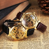 Cjiaba Men & #039;S Gold Skeleton Leather Band Automatic Self Wind Dress Watch (Assorted Colors)