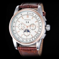 Forsining Men & #039;S Auto-Mechanical Six Pointers Rose Gold Case Leather Band Wrist Watch (Assorted Colors)