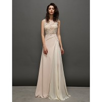 Ts Couture? Formal Evening Dress- Pearl Pink A-Line Jewel Sweep/Brush Train Lace