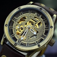 Men & #039;S Retro Auto-Mechanical Watch Vintage Automatic Self Wind Leather Skeleton Wrist Watch (Assorted Colors)