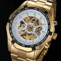 Men & #039;S Automatic Mechanical Hollow Dial Gold Steel Band Wrist Watch (Assorted Colors)