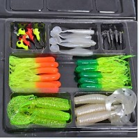 Soft Baits/Jigs Fishing Lure Set 45 (35+10)Pcs Shads, Grubs, Soft Jerkbaits, OctoPUs, Jig Heads, Hooks