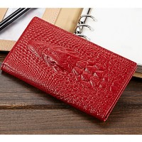 Women & #039;S Crocodile 3D Genuine Leather Coin Purse Wallets Day Clutch Purse Card Holders