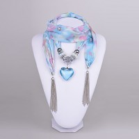 D Exceed Women & #039;S Chiffon Scarf Necklace Aquamarine Heart Pendant Scarf Necklace With Tassels