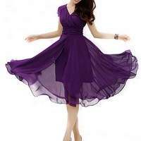 Women & #039;S Plus Size Gathered Micro Elastic Midi Chiffon Dress
