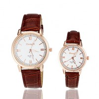 Couple & #039;S Roman Numerals PU Band Quartz Wrist Watch (Assorted Colors)