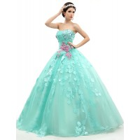 Formal Evening Dress- Jade Petite Ball Gown Strapless Floor-Length Organza/Tulle/Charmeuse