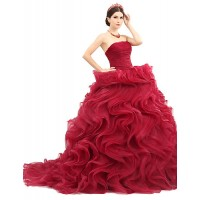Formal Evening Dress- Burgundy Petite Ball Gown Strapless Sweep/Brush Train Organza/Tulle/Charmeuse