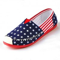 Women & #039;S Shoes Canvas Stars Flat Heel Moccasin/Comfort/Round Toe Loafers Casual Blue/Red