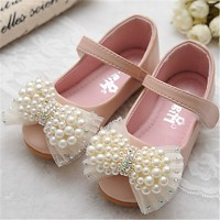 Girls & #039; Shoes Outdoor/Dress Peep Toe Faux Leather Flats Blue/Pink/Beige