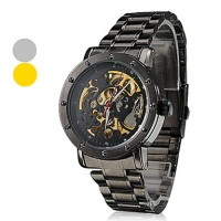 Men & #039;S Auto-Mechanical Hollow Dial Black Steel Band Wrist Watch