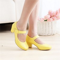 Girls & #039; Shoes Casual Round Toe Fabric/ Pumps/Heels Black/Yellow/Pink/Beige