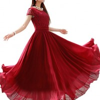 Women & #039;S Solid Color Maxi Chiffon Dress With Lace Top