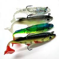 4Pcs Soft Baits/Shads/Jerkbaits Lead Fish 8 cm/14G Fishing Lure With Hooks