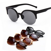 Sunglasses Women & #039;S Fashion Round Black/Beige/Brown/Leopard Sunglasses Half-Rim