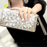 Women & #039;S PU Wallet- Gold/Silver/Black