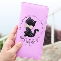 Women & #039;S PU Wallet- Purple/Blue/Black
