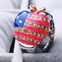 Women & #039;S New Fashion Round Apple And The American Flag Shape Of Diamond Dial Steel Strap Quartz Ring Watch (Random Color)