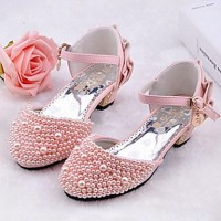 Girls & #039; Shoes Wedding/Party & Evening/Dress/Casual Heels/D & #039;Orsay & Two-Piece/Closed Toe Leatherette Heels Pink/White