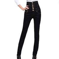 Women & #039;S Fashion High Waist Solid Black Jeans Pants , Casual/Work Button
