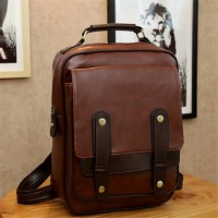 Women PU Baguette Backpack- Brown/Black