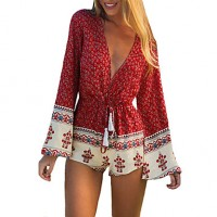 Women Short Jumpsuit Floral Print Deep V Neck Long Flare Sleeves Drawstring Waist Casual Rompers